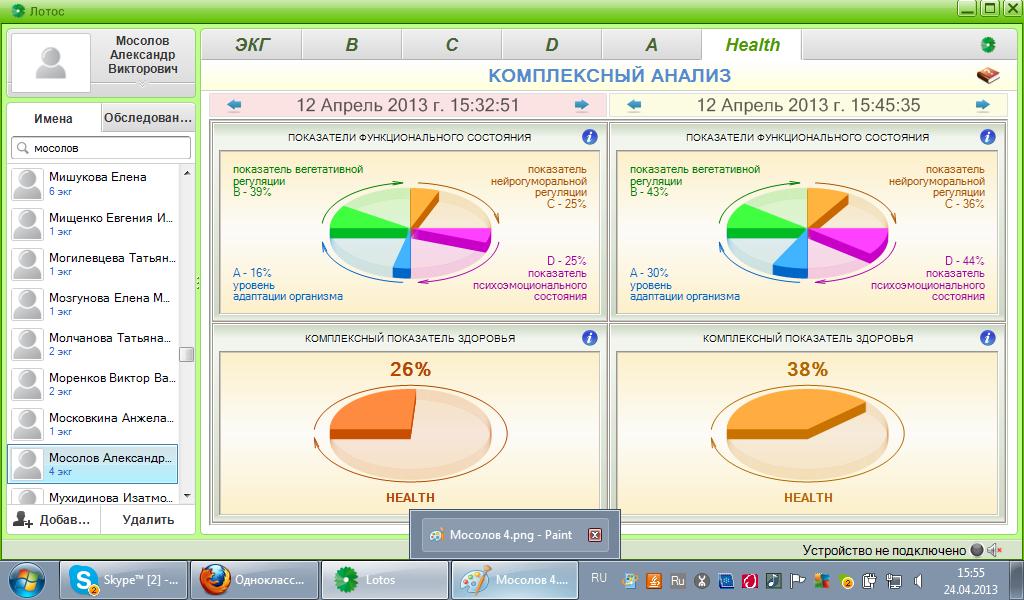 Сравнение показателей здоровья НЭП-14М
